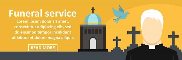 Concept horizontal de bannière de service funéraire Vecteur Premium