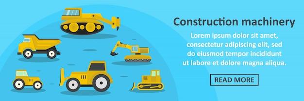 Concept horizontal de construction machines bannière modèle Vecteur Premium