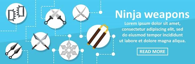 Concept horizontal de modèle de bannière armes ninja Vecteur Premium