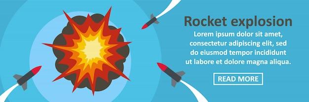 Concept horizontal de modèle de bannière de fusée explosion Vecteur Premium