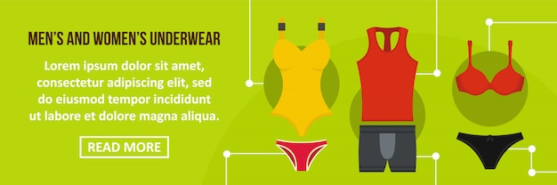 Concept horizontal de modèle de bannière de sous-vêtements hommes et femmes Vecteur Premium