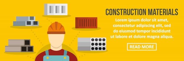 Concept horizontal de modèle de matériaux de construction bannière Vecteur Premium