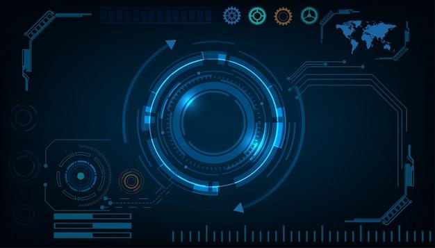 Concept de hud d'interface futuriste technologie cercle abstrait Vecteur Premium