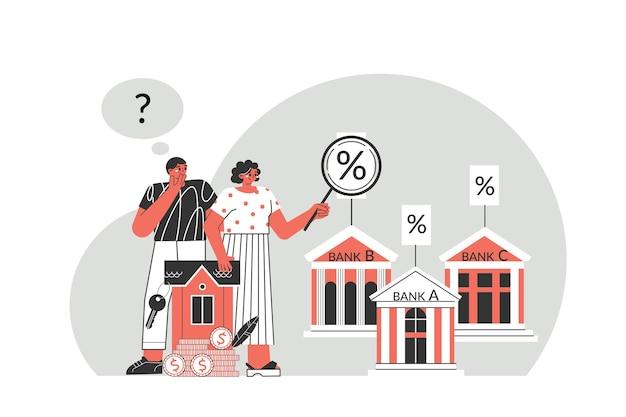 Concept D'hypothèque. Le Jeune Couple Considère L'intérêt Des Différentes Banques Pour Une Bonne Hypothèque. Les Personnages Envisagent De Prendre Une Hypothèque Pour Acheter Une Maison. Vecteur Premium