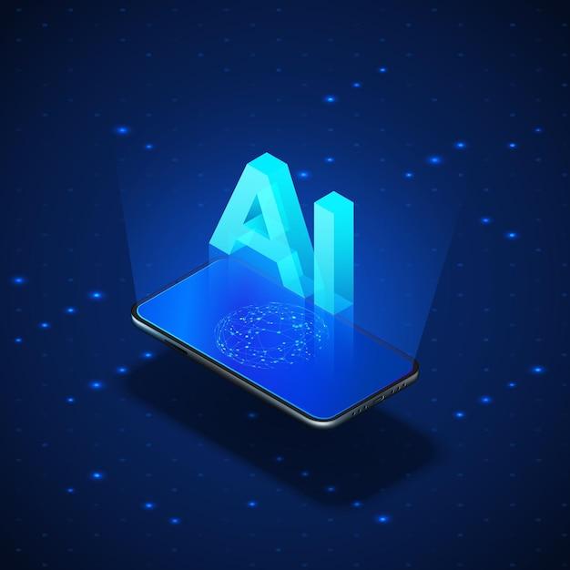 Concept D'ia De Bannière Isométrique. Téléphone Mobile Réaliste Avec Intelligence Artificielle Ai En-tête. Vecteur Premium