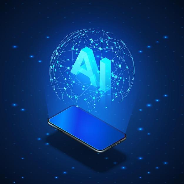 Concept D'ia De Bannière Isométrique. Téléphone Mobile Avec Réseau Mondial Hologramme Et Intelligence Artificielle Ia D'en-tête. Vecteur Premium