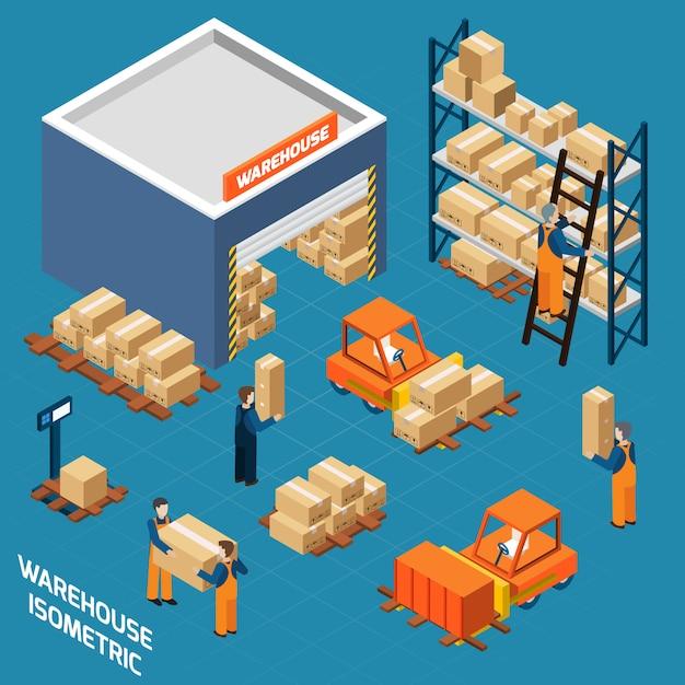 Concept D'icônes Isométrique D'entrepôt Vecteur gratuit