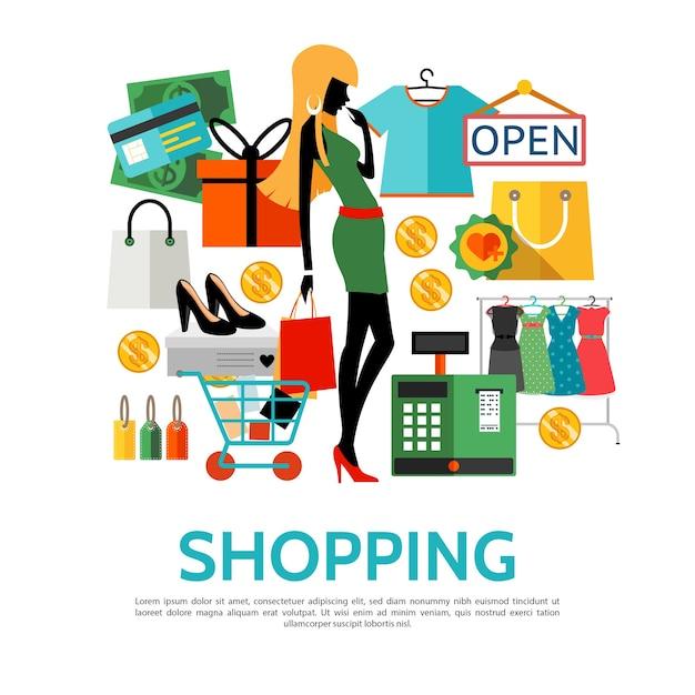 Concept D'icônes Plat Shopping Vecteur gratuit