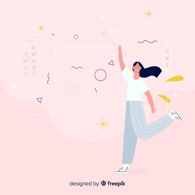 Concept D'idée De Design Graphique Femme Vecteur gratuit