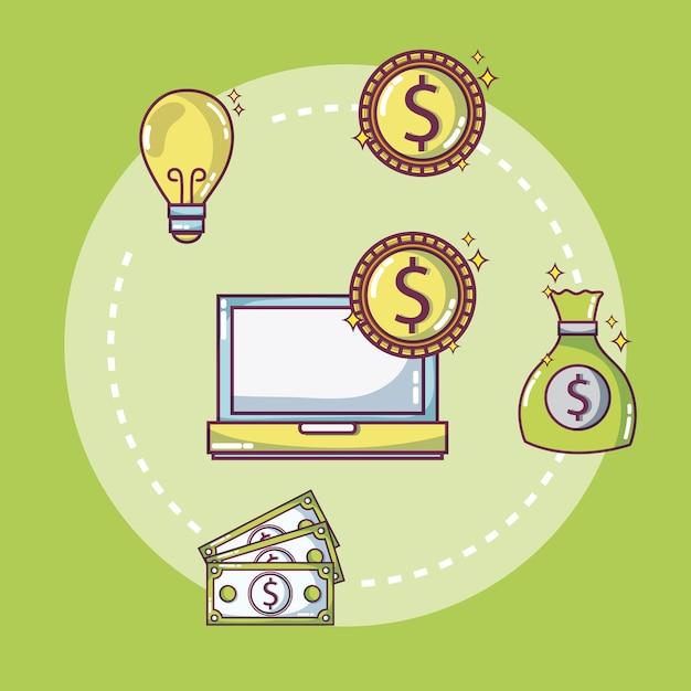 Concept d'idées argent et affaires Vecteur Premium