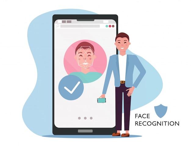Concept d'identité de visage. homme avec téléphone portable, visage masculin sur grand écran de smartphone. reconnaissance de la personnalité dans l'application mobile, téléphone moderne avec système de sécurité. illustration vectorielle plat Vecteur Premium