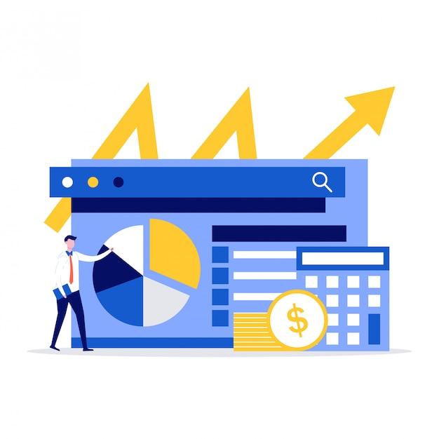 Concept D'illustration D'audit Financier Avec Des Personnages. Homme D'affaires Se Tient Près Du Graphique, Des Pièces De Monnaie Et De La Calculatrice. Vecteur Premium