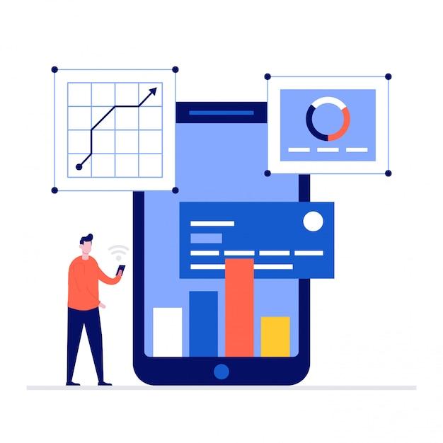 Concept D'illustration Bancaire En Ligne Avec Personnages, Smartphone, Carte De Crédit. Vecteur Premium