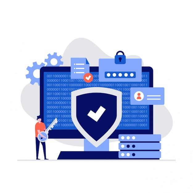 Concept D'illustration De Cybersécurité Avec Des Personnages. Vecteur Premium