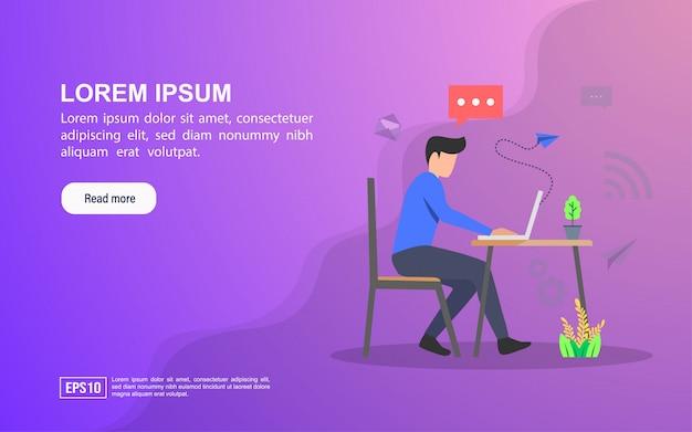 Concept d'illustration du service. modèle web de page de renvoi ou publicité en ligne Vecteur Premium