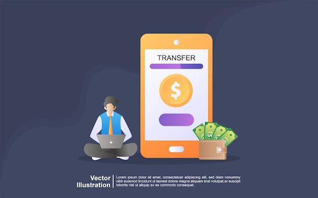 Concept D'illustration Du Transfert En Ligne. Paiement à L'aide D'une Application De Téléphone Intelligent Et D'une Carte De Crédit De Compte Bancaire Vecteur Premium