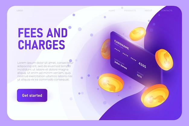 Concept D'illustration De Frais Et Charges, Modèle De Page De Destination. Carte Bancaire Avec Modèle 3d De Pièces Vecteur Premium
