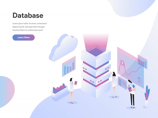 Concept d'illustration isométrique de serveur de base de données Vecteur Premium