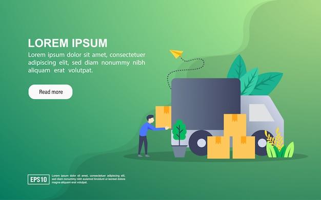 Concept d'illustration de la livraison. modèle web de page de renvoi ou publicité en ligne Vecteur Premium