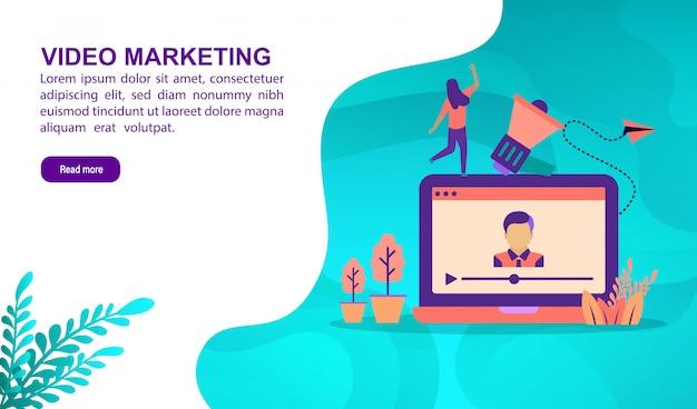 Concept d'illustration marketing vidéo avec personnage. modèle de page de destination Vecteur Premium