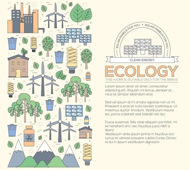 Concept D'illustration Moderne De Ressources Naturelles De Fine Ligne Vecteur Premium