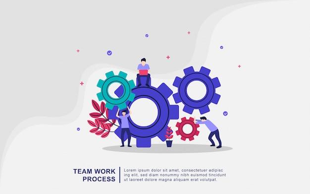 Concept D'illustration De Processus De Travail D'équipe. Coworking, Freelance, Travail D'équipe Vecteur Premium
