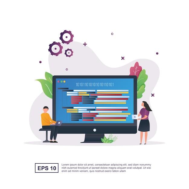 Concept D'illustration De La Programmation Avec Le Langage De Programmation Qui Se Trouve Sur L'écran Du Moniteur. Vecteur Premium