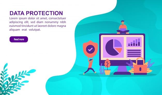 Concept d'illustration de protection des données avec caractère. modèle de page de destination Vecteur Premium