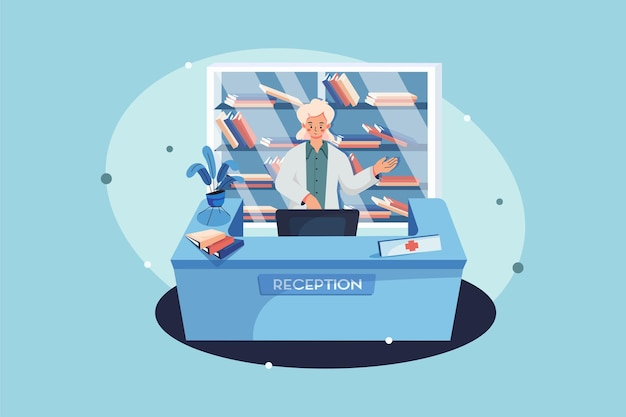 Concept D'illustration De Réception De L'hôpital Vecteur Premium