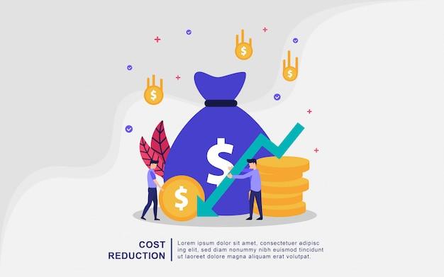 Concept D'illustration De Réduction Des Coûts Avec Des Personnes Minuscules Vecteur Premium