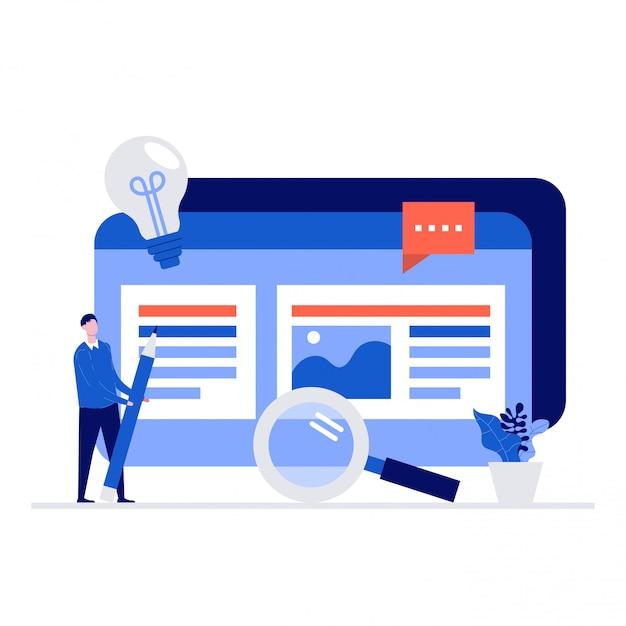 Concept D'illustration Seo Et Marketing De Contenu Avec Des Personnages. Vecteur Premium