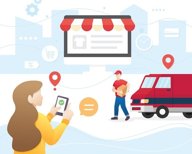 Concept d'illustration des services de livraison Vecteur Premium
