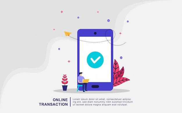 Concept d'illustration de transaction financière, transfert d'argent, services bancaires en ligne, portefeuille mobile. Vecteur Premium
