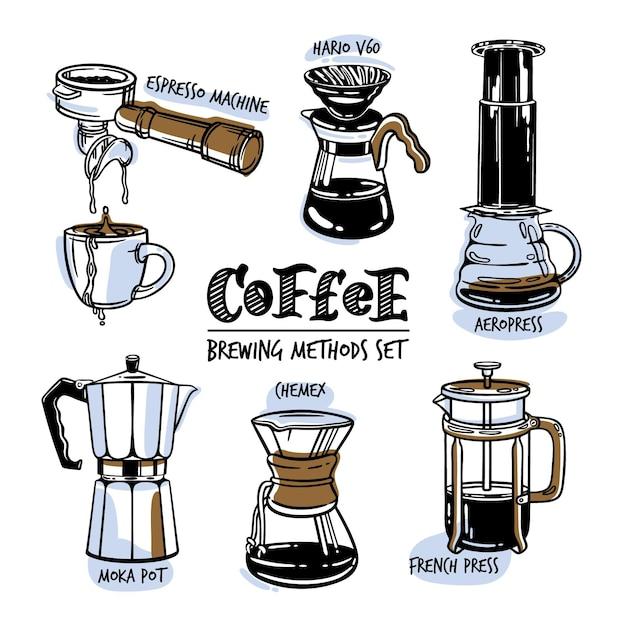 Concept D'illustration De Types De Café Vecteur gratuit