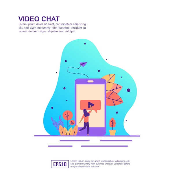 Concept d'illustration vectorielle de chat vidéo Vecteur Premium