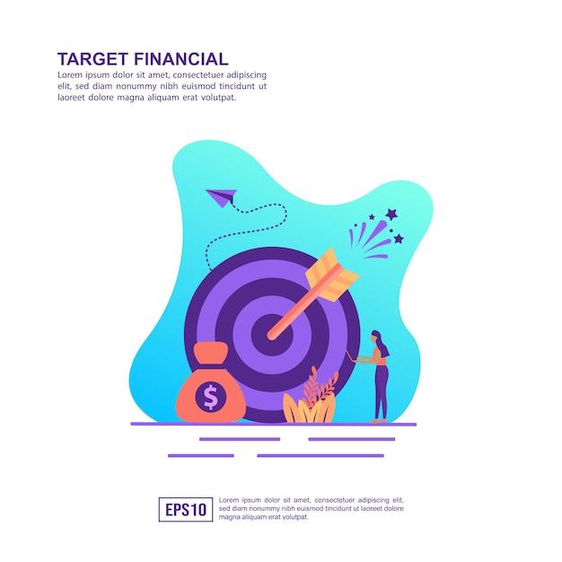 Concept d'illustration vectorielle de cible financière Vecteur Premium