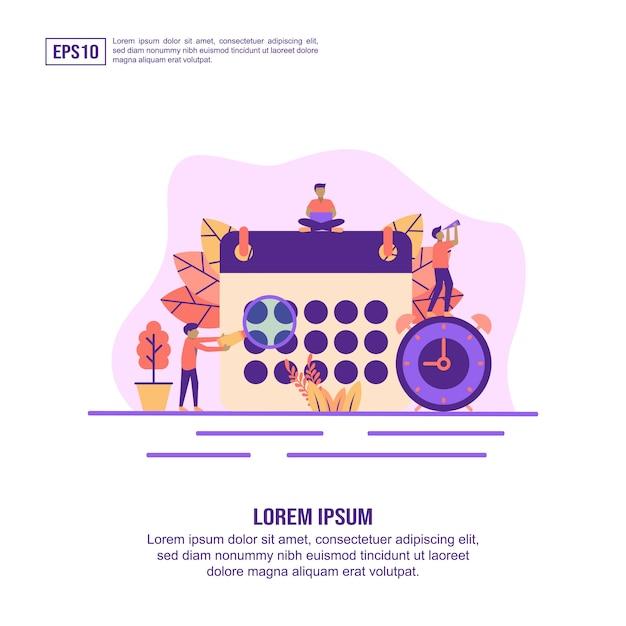 Concept d'illustration vectorielle du calendrier Vecteur Premium