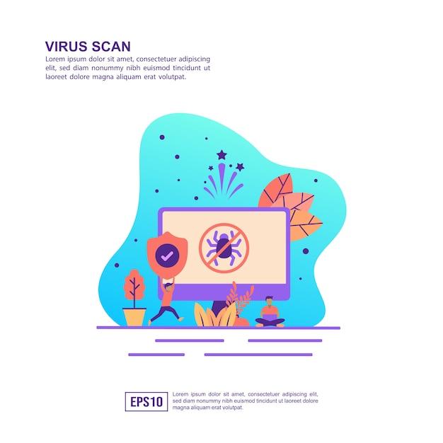 Concept D'illustration Vectorielle Du Scan De Virus Vecteur Premium