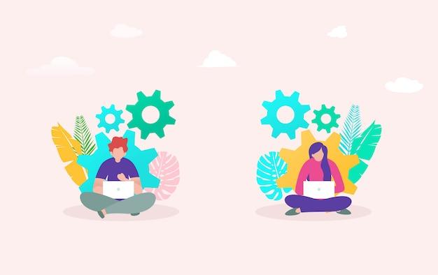 Concept d'illustration vectorielle de flux de travail innovation développement, jeune homme et femme travaillant sur ordinateur portable Vecteur Premium