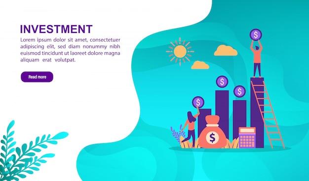 Concept d'illustration vectorielle d'investissement avec personnage. modèle de page de destination Vecteur Premium