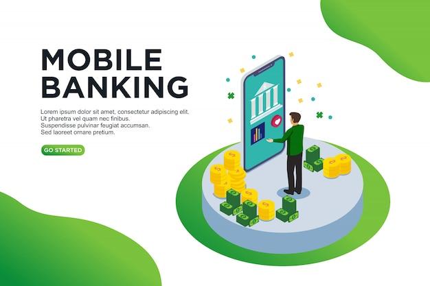 Concept d'illustration vectorielle isométrique bancaire mobile Vecteur Premium