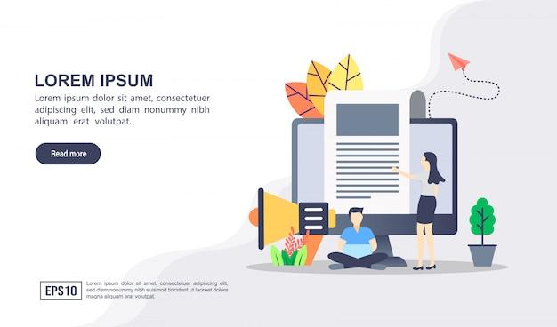 Concept d'illustration vectorielle de marketing numérique avec personnage Vecteur Premium