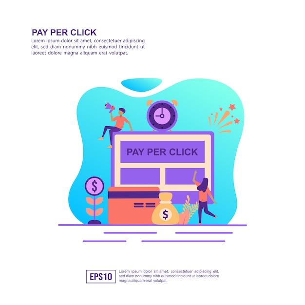 Concept d'illustration vectorielle de payer par clic Vecteur Premium