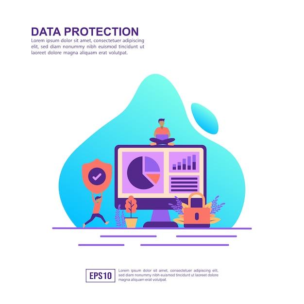 Concept D'illustration Vectorielle De La Protection Des Données Vecteur Premium
