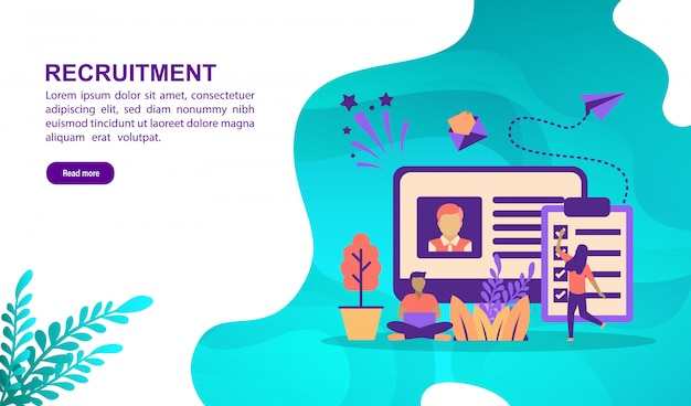 Concept d'illustration vectorielle de recrutement avec personnage. modèle de page de destination Vecteur Premium
