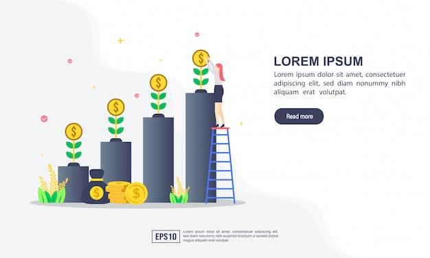 Concept d'illustration vectorielle de retour sur investissement avec personnage Vecteur Premium