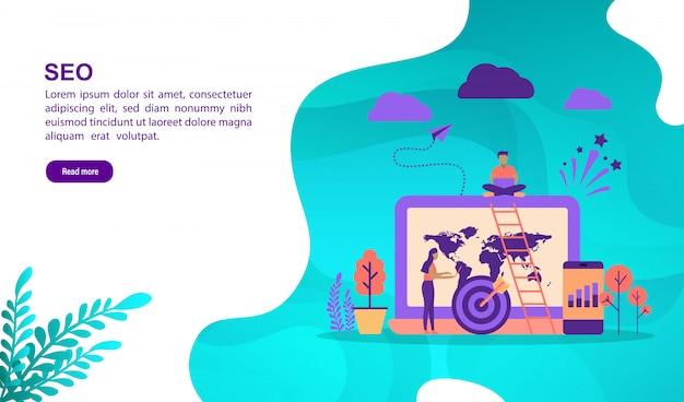 Concept d'illustration vectorielle de seo avec personnage. modèle de page de destination Vecteur Premium