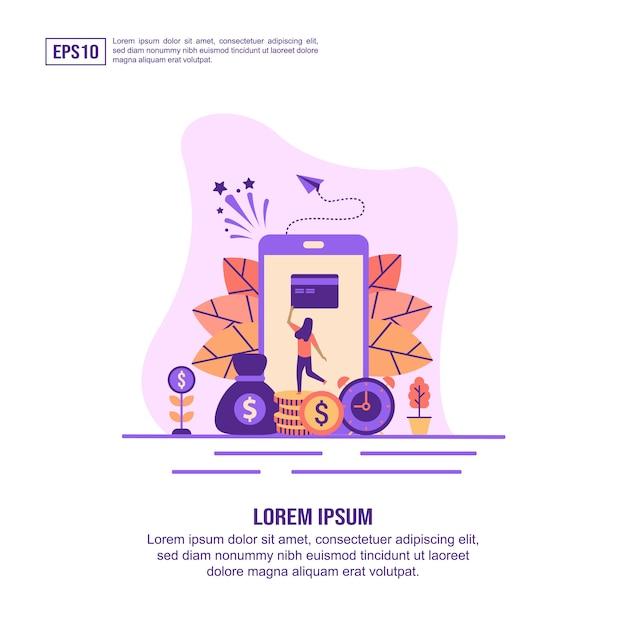 Concept D'illustration Vectorielle De Services Bancaires Mobiles Vecteur Premium
