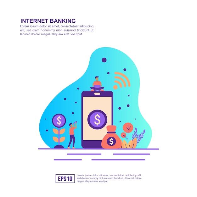 Concept d'illustration vectorielle de services bancaires par internet Vecteur Premium