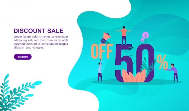 Concept d'illustration de vente discount avec caractère. modèle de page de destination Vecteur Premium